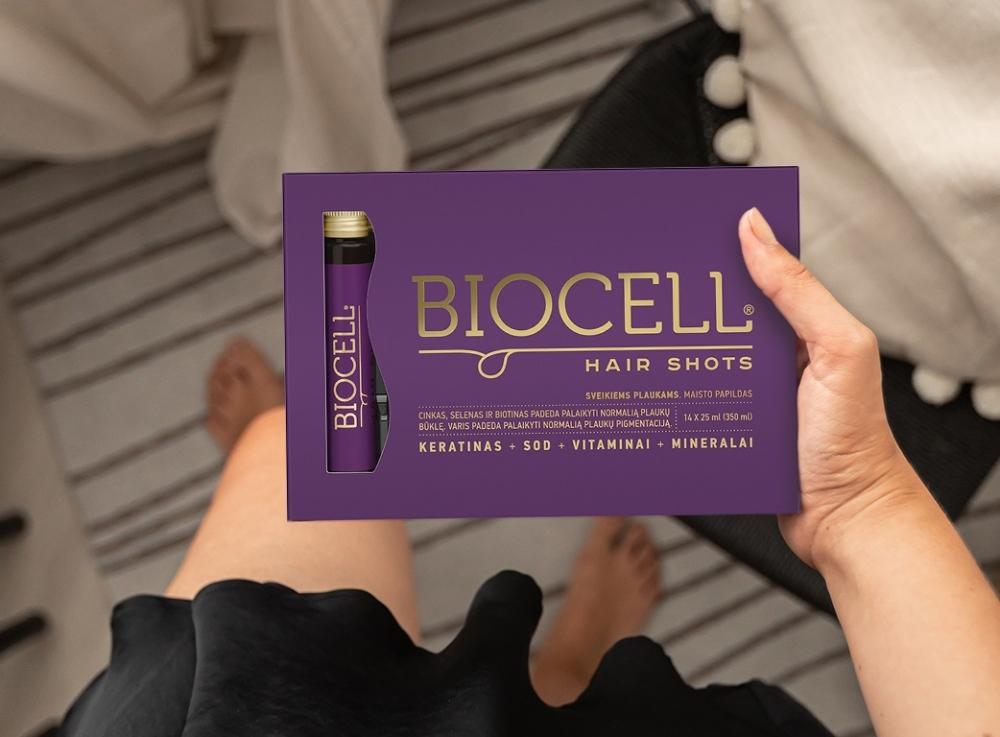 BIOCELL Hair Shots, geriamas keratinas su vitaminais ir mineralais plaukams + DOVANA valomoji veido kaukė
