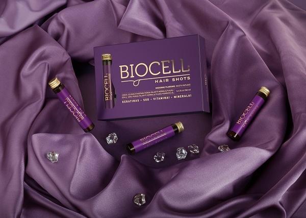 BIOCELL Hair Shots, geriamas keratinas su vitaminais ir mineralais plaukams
